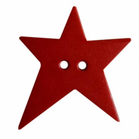 Bright Red 1-1/8in 2 Hole Star Button 12 per Tube