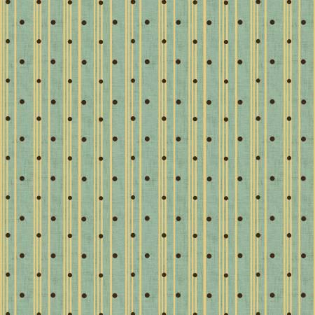 Sage & Sea Glass - Blue Polka Dot Ticking Stripe