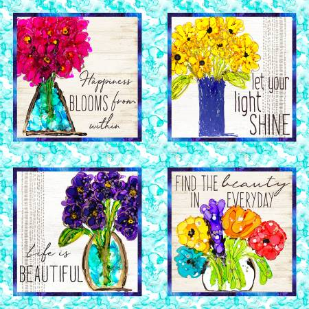 Lovitude - Multi Vases Panel, Digitally Printed - by Anne Pryer for 3 Wishes Fabric