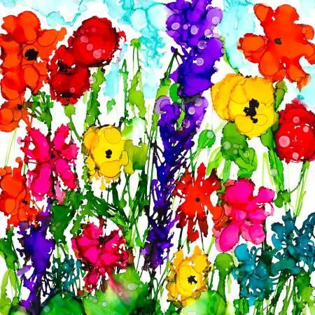 Lovitude Multi Flower Garden PANEL Digitally Printed from 3 Wishs