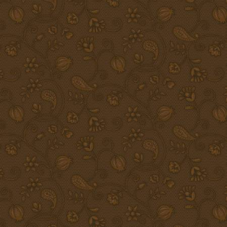 Q -  Esther's Heirloom Shirtings - Brown Garden Bramble