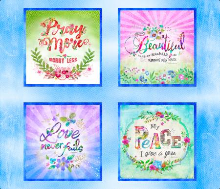 3 Wishes Bloom with Grace Blue Panel Digitally Printed