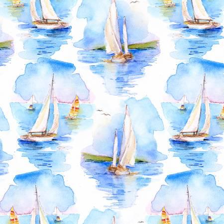 White Sailboats Digitally Printed