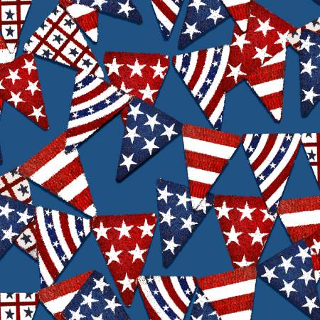 3 Wishes Fabric American Spirit Blue Pennant Flags by Beth Albert