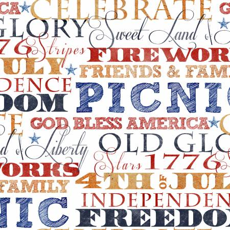 3 Wishes Fabric American Spirit White American Words by Beth Albert