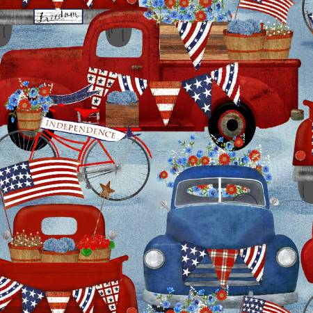 3 Wishes Fabric American Spirit Blue American Trucks by Beth Albert