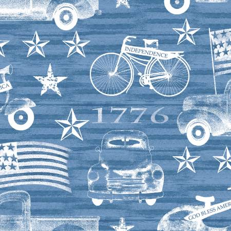 American Spirit - Blue American Vehicles - by Beth Albert for 3 Wishes