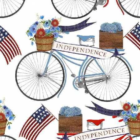 3 Wishes Fabric American Spirit White Bicycle Parade by Beth Albert