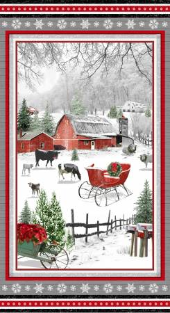 Red 24in Panel Farm Scene Christmas