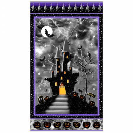 Henry Glass Hocus Pocus Black Panel 24in Halloween w/Metallic