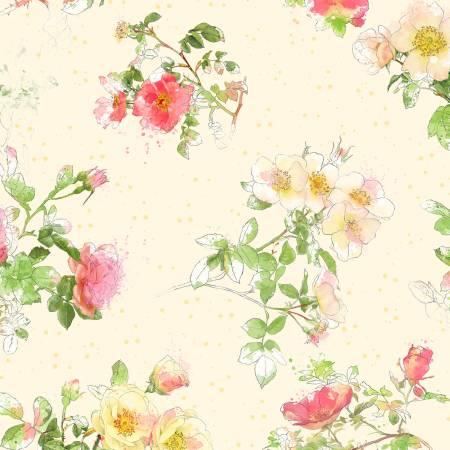 Cream Floral Toss