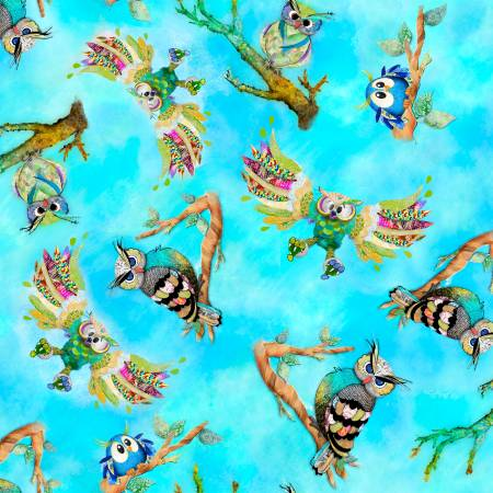Go Owl Out  - Turquoise Tossed Birds