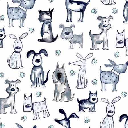 Poochie McGruff  Flannel Dogs Allover White
