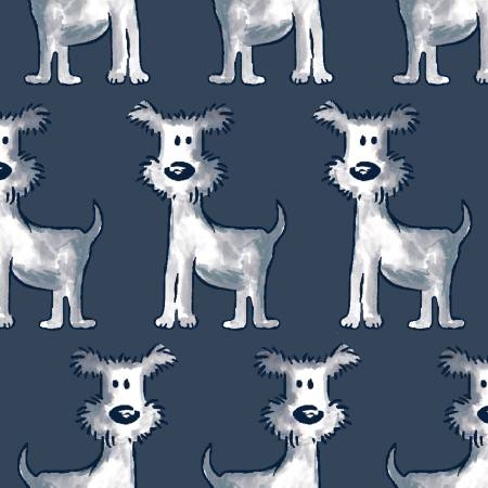Mommy & Me - Navy Row Dogs - by Three Wishes Fabric