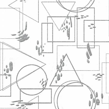 Metallic Fusion - Silver Geometric Outlines w/Metallic