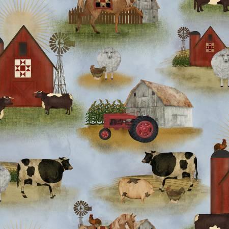 On the Farm - Blue Landscape