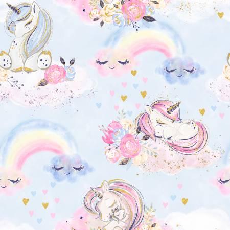 Blue Unicorns & Rainbows 16569-BLU