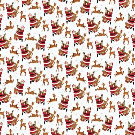Jolly Ole Soul-White/Multi Santa & Reindeer Toss Christmas