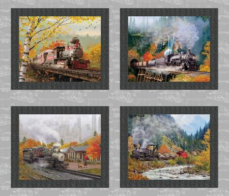 Autumn Steam 16587-GRY 4 Train Panel 34in X 42in