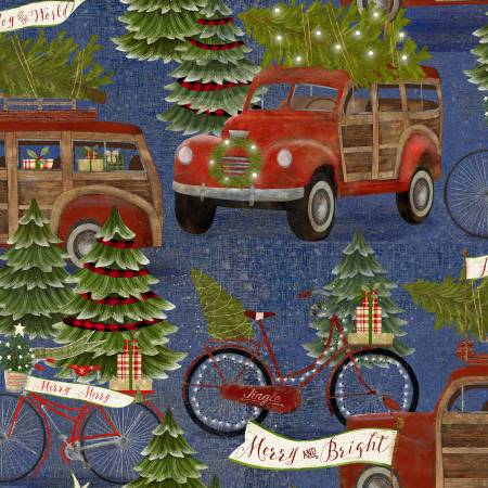 3 Wishes- Jingle All The Way 16628-BLUE Blue Retro Cars Hauling the Tree