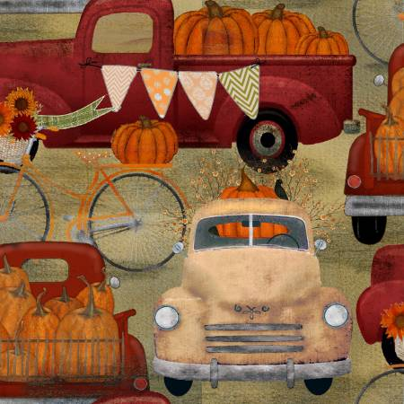 16636 Harvest Campers - Hauling Pumpkins Tan by Beth Albert for 3 Wishes