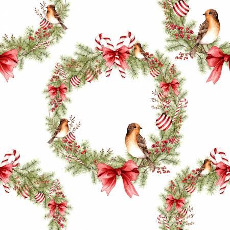 Winter Forest Wreaths with Birds white