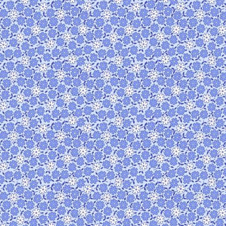 Blue Small Monotone Floral 1930's Reproduction