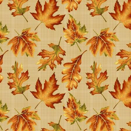 Autumn Elegance - fall leaves on tan plaid