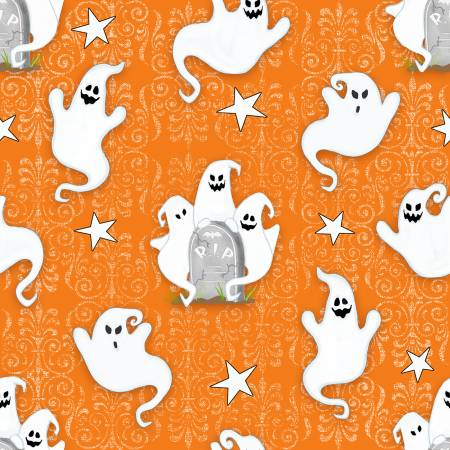 Henry Glass Ghostly Glow Town Orange Ghosts Allover Glow in the Dark Halloween Fabric