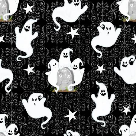 Cotton Print- Ghostly Glow Town- Ghosts All Over-  Black STH#11229168