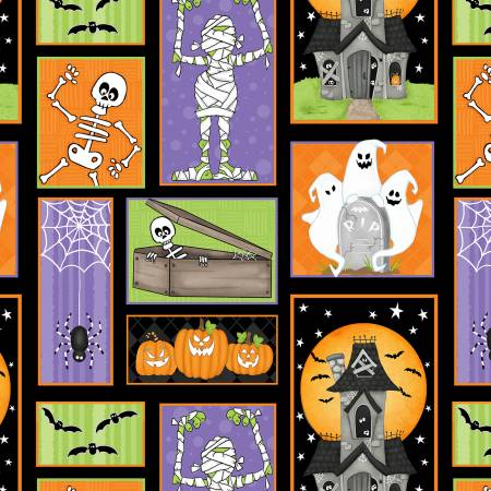 Multi Ghostly Patch Pattern Glow in the Dark Halloween Fabric
