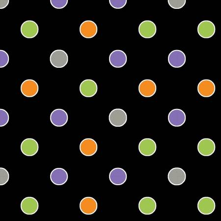 Black Dot Glow in the Dark Halloween Fabric (F10158)