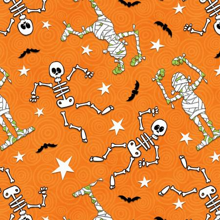 Orange Skeleton/Mummy Toss Glow in the Dark Halloween Fabric