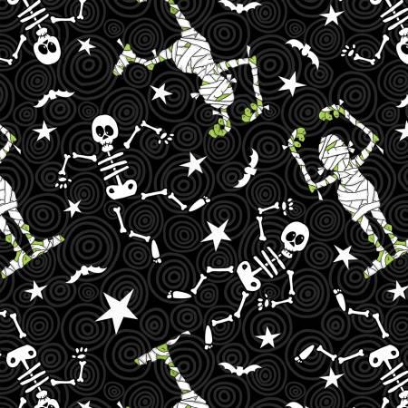Black Skeleton/Mummy Toss Glow in the Dark Halloween Fabric (F10157)