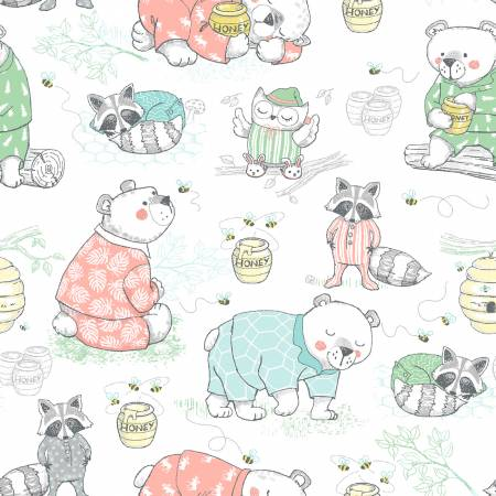 White Bears, Racoon & Owls Comfy Flannel Double Brushed