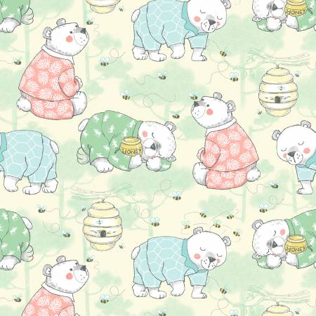 Yellow Bears Comfy Flannel Double Brushed