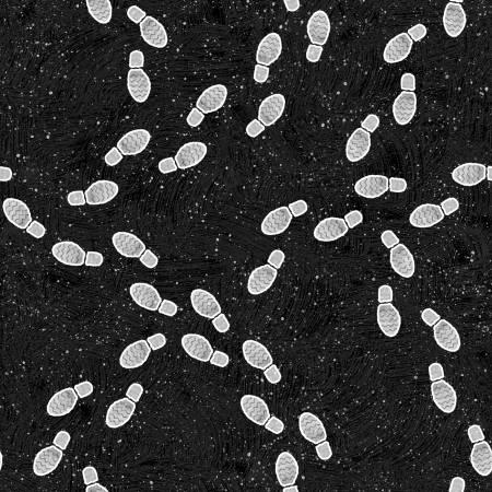 Black Footprints Glow in the Dark Halloween Fabric