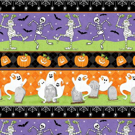 Multi Ghostly Novelty Glow in the Dark Halloween Fabric