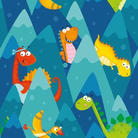 Dino-Mates Peeking Dinosaurs in Mountains Blue