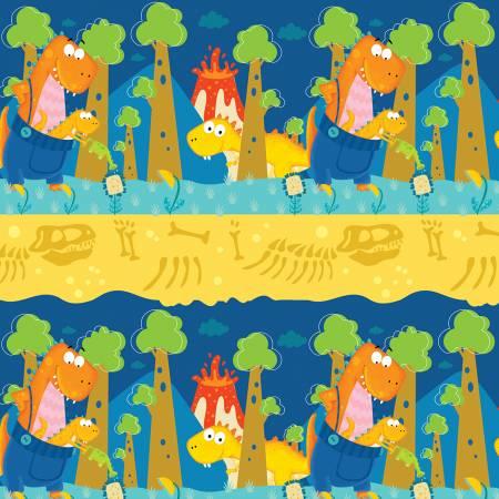 Dino-Mates Novelty Stripe Dinosaurs Blue/Yellow