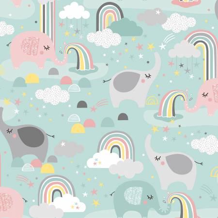 17155-TRQ Turquoise Elephants & Rainbows Flannel