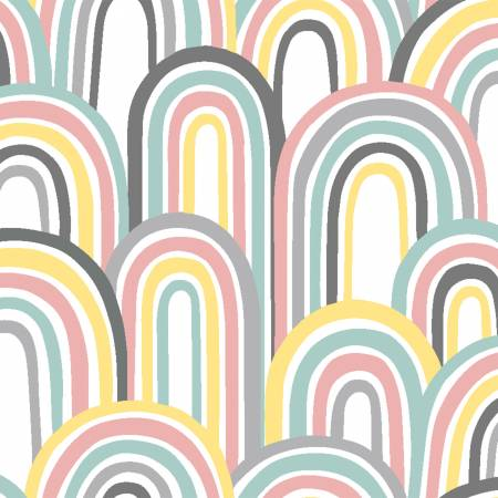 17156-WHT White Rainbows Flannel