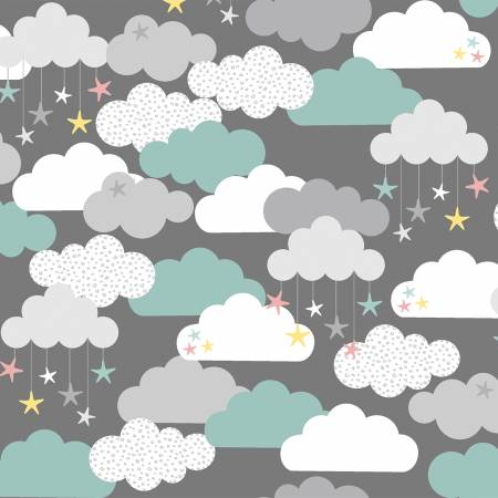Grey Clouds & Stars Flannel