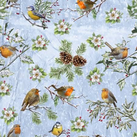 Winter Cottage Blue Winter Birds
