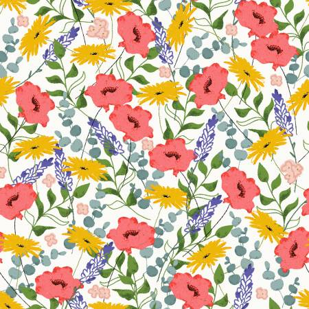Feed The Bees - Allover Floral - By Deane Beesley For 3 Wishes Fabric