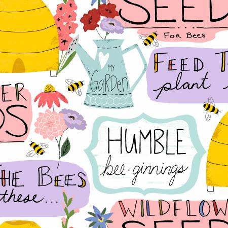 Feed The Bees White Garden Words