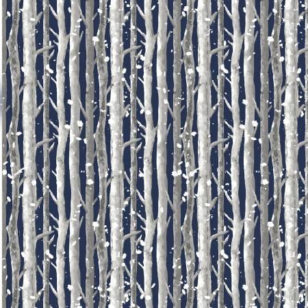 Winter Cottage Navy Birch Trees
