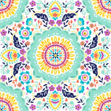 Summer Song - Painted Tile - By 3 Wishes Fabric