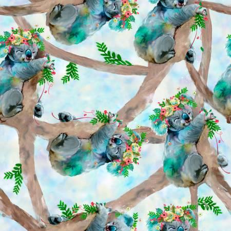 Party Animals Turquoise Koala Bears Digital 17317-TRQ