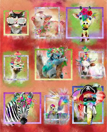 Party Animals - Multi Party Animals 34in Panel